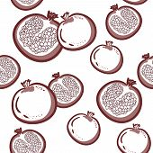 Seamless Pattern With Pomegranates. Vector Decorative Patterns. Pomegranate Fruit On White Backgroun poster