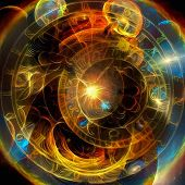 Vivid abstract painting. Astronomical clock and endless spaces. 3D rendering poster