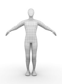 stock photo of male body anatomy  - Illustration of a wired man - JPG