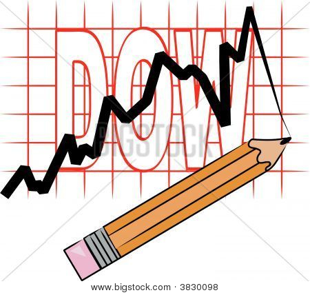 Pencil With Line Graph And Grid Dow.