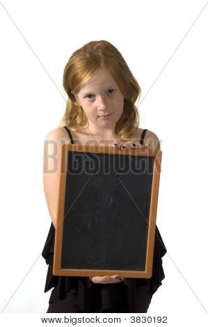Little Girl Is Holding An Empty Chalkboard