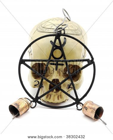 Skull Behind Pentacle Wind Chime