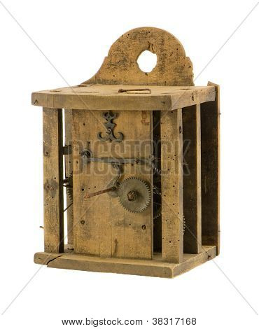 Retro Wooden Clock Box Mechanism Residue Isolated