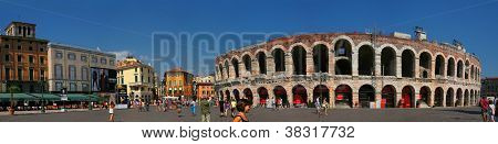 Verona - Italy August 11: Piazza Bra, Often Shortened To Bra, Is The Largest Piazza In Verona, Italy