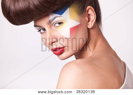 Fashion Model With Bright Makeup