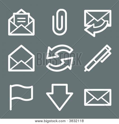 White E-Mail Web Icons V2