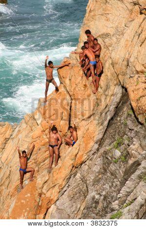 Mergulhadores do penhasco de Acapulco