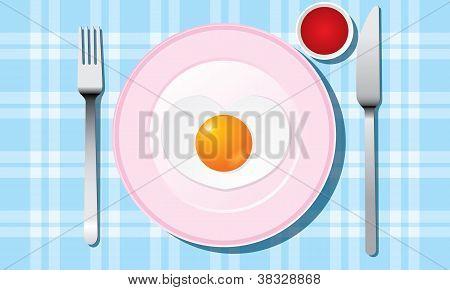 Fried egg like heart on a plate with flatware