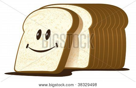 The cut loaf of bread isolated on white, vector