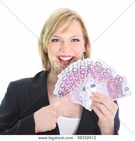 Gleeful Woman Pointing To Bunch Of 500 Euro Notes