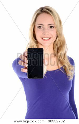Smiling Young Blonde Woman Holding Cell Phone