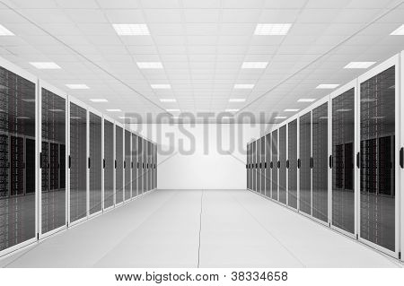 Long Row Of Server Racks