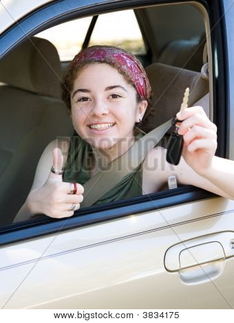 Teen With Keys Thumbsup