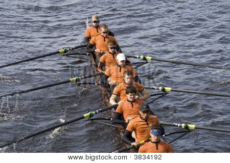 Boston - October 19:  The University Of Texas Men\'S Rowing Team Race In The In The Head Of Charles