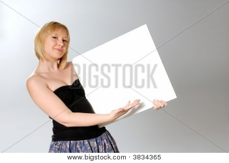 Woman Holding Blank Card