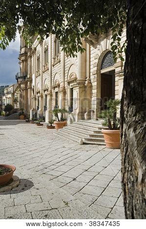 baroque street in scicli