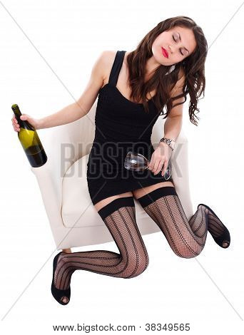 Drunk Woman With Wine And Glass In Hand