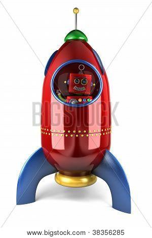 Happy Robot In Rocket