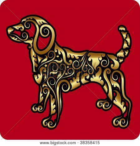 Golden dog ornament