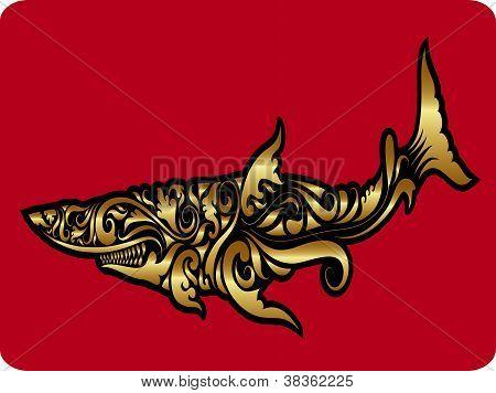 Golden Shark Ornament