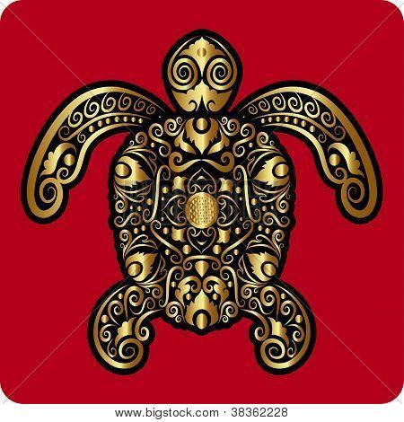 Golden Turtle Ornament
