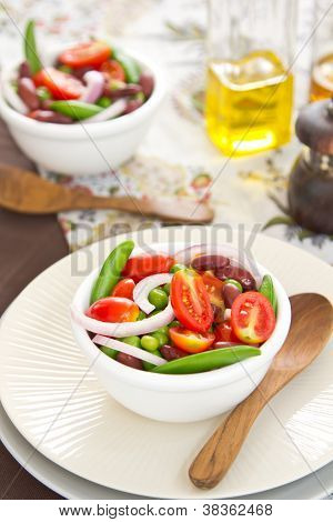 Beans with Peas and Tomato salad