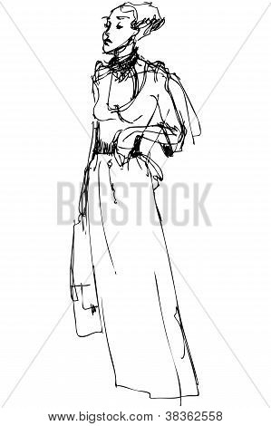 Sketch High Slender Woman In A Long Dress