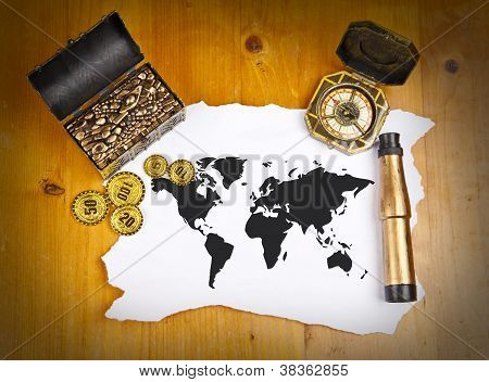 Pirate World Map With Treasure, Compass And Binocular