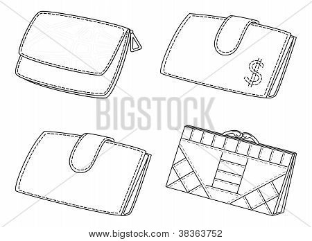 Leather wallets, set, contour