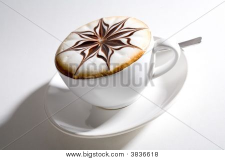 Beautifully Decorated Cup Of Hot Coffee