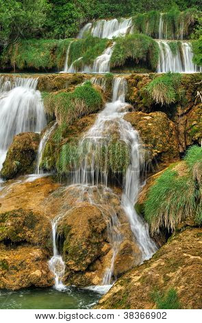 Krka river waterfalls in the Krka National Park Roski Slap Croatia