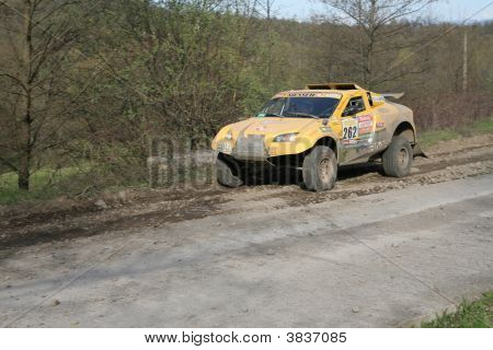 Yellow Renault Rally Car