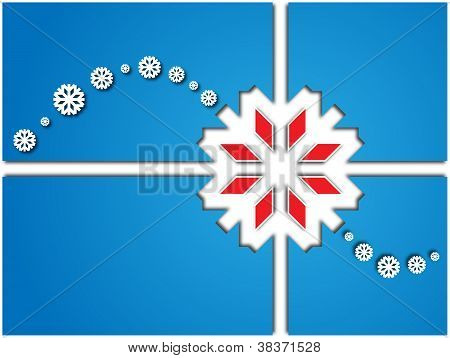 Card With White Snowflakes