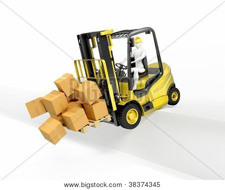 Fork Lift Truck Falling From Loading Dock