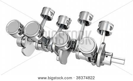 V8 Engine Pistons On A Crankshaft