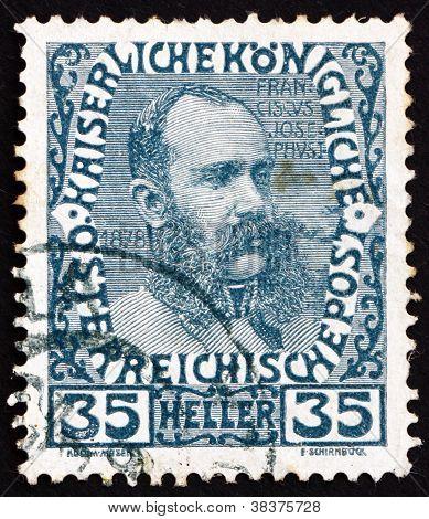 Postage stamp Austria 1908 Franz Josef in middle Age, Emperor of Austria