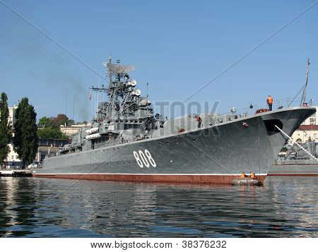 The military ship of the Russian fleet on raid