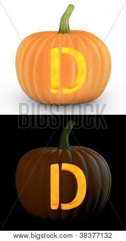 D Letter Carved On Pumpkin Jack Lantern