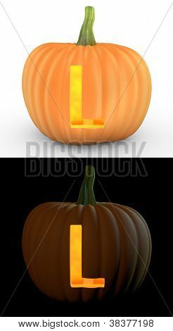 L Letter Carved On Pumpkin Jack Lantern