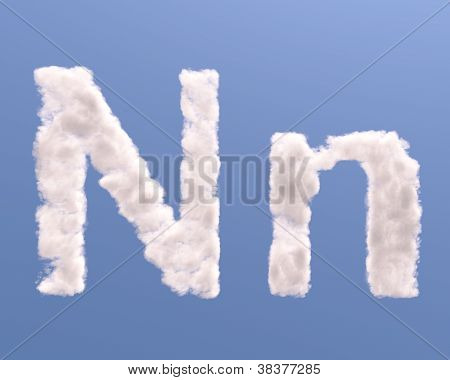 Letter N Cloud Shape