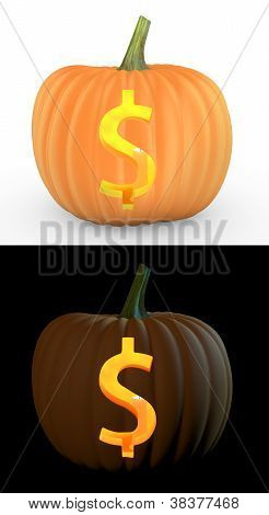 Dollar Symbol Carved On Pumpkin Jack Lantern