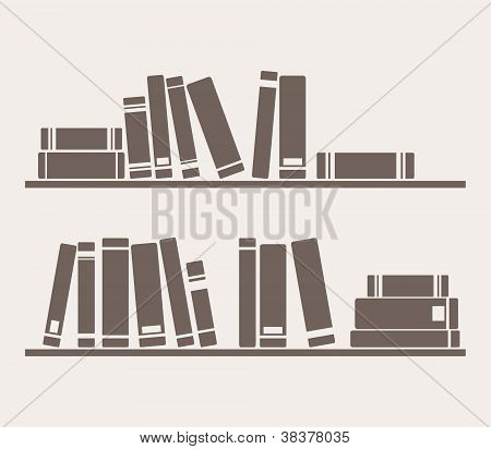 Books on the shelves simply retro vector illustration
