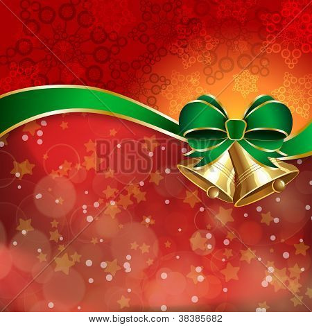 Jingle Bells With Green Bow On A Shines Background