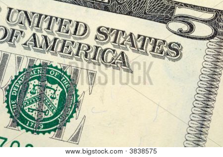 Five Dollar Bill Closeup