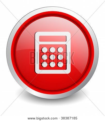 calculator red button - design web icon