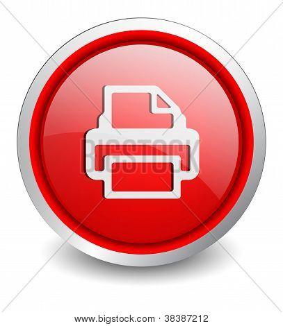 Printer red button - design web icon