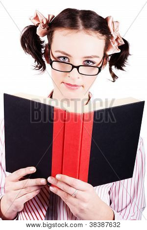 Studious School Student Reading Text Book On White