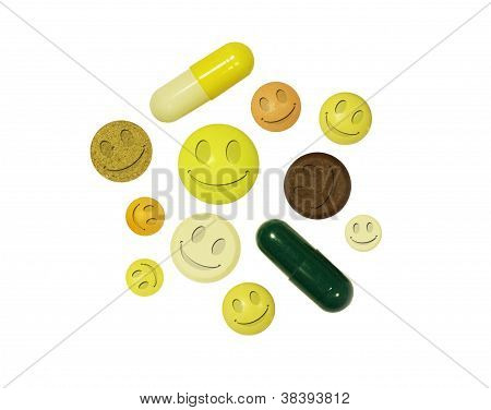 Tablets With Smiles On A White Background