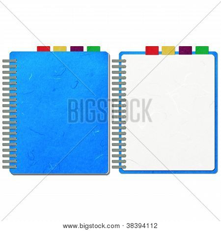Rice Paper Cut Blue Blank Note Book
