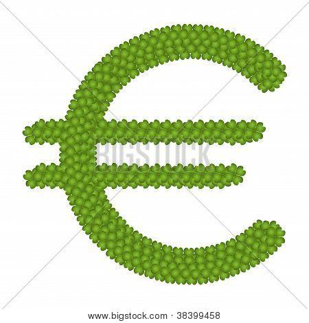 A Four Leaf Clove Of Euro Symbol